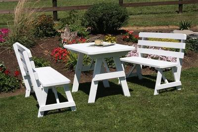 Amish Pine Wood Traditional Picnic Table with Two Backed Benches