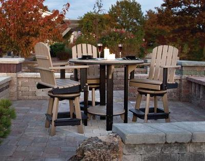 The Amish Poly Patio Pub Table Set with Four Swivel Bar Chairs