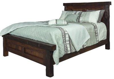 Amish Reclaimed Barnwood Panel Beam Bed