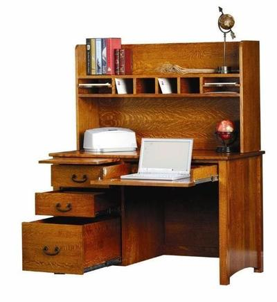 Amish Rivertowne Desk with Open Hutch Top