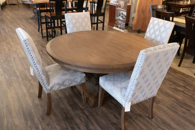 Amish Corbin Parsons Dining Chairs at the Normandy Table in the DutchCrafters Showroom