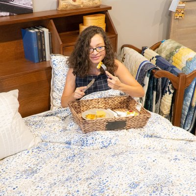 Breakfast in bed at the DutchCrafters Showroom