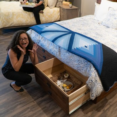 Surprise storage in the Amish Laramie Storage Bed