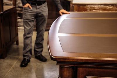 Amish Paris Executive Desk with 3 Piece Leather Top