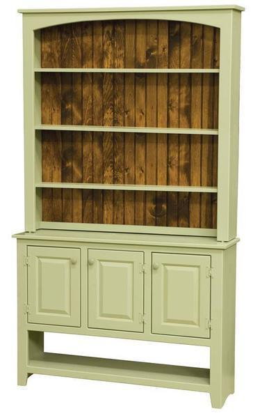 Amish Pine Wood Sideboard with Hutch Top