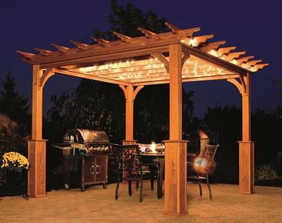 Cedar pergola with lights.