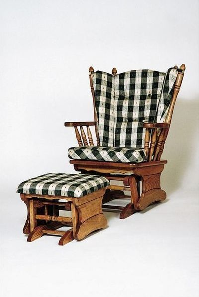 Amish Four Post Gliding Rocker with Ottoman