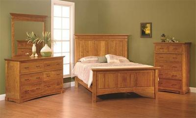 Amish Crystal Lake Three Piece Bedroom Set in Rustic Cherry