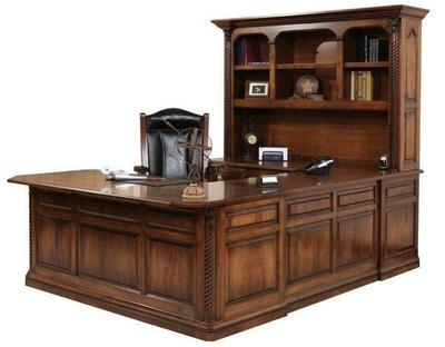 Amish Lexington U Shaped Desk with Optional Hutch Top