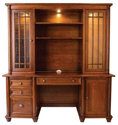 Amish Made Belmont Credenza Desk with Optional Hutch Topper