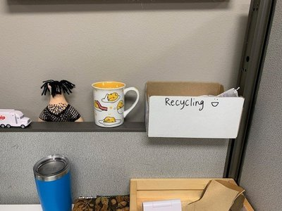 Recycling at work.