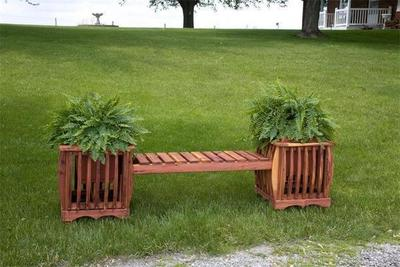 Amish Cedar Wood Planter Bench
