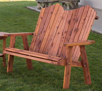 Amish Red Cedar Outdoor Adirondack Bench