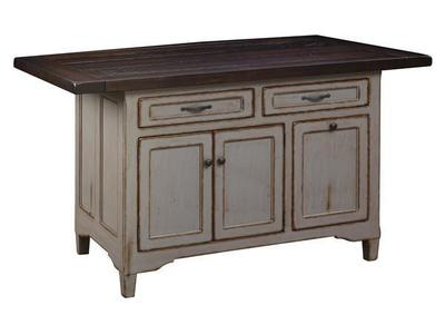 Amish Solid Wood Kitchen Island Lexington Three Doors and Two Drawers