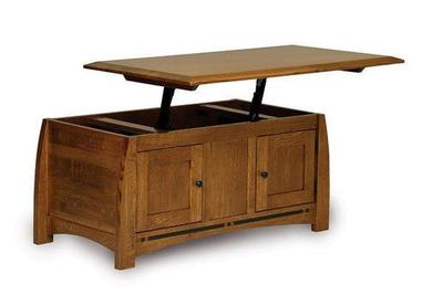 Amish Boulder Creek Mission Enclosed Lift Top Coffee Table with Doors