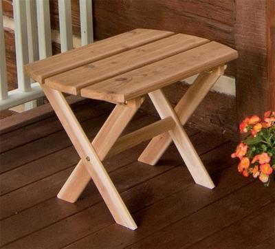 Amish Cedar Wood Folding Oval End Table