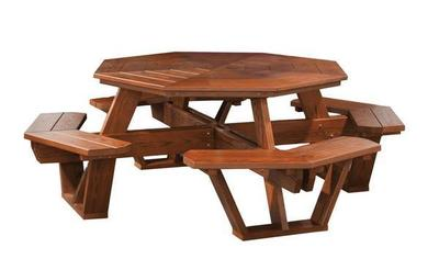 Amish Cedar Wood Octagon Picnic Table