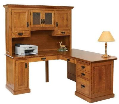 Amish Homestead Corner L Desk with Optional Hutch Top