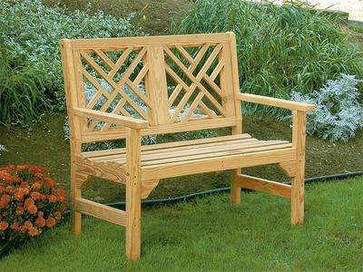Amish Pine Wood Chippendale Garden Bench