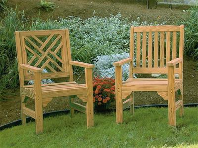 Amish Pine Wood Garden Chair Set