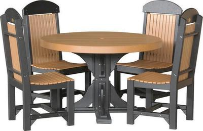 LuxCraft 4 Poly Round Table Set with Four Regular Dining Chairs