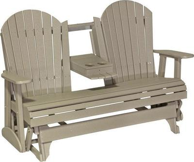 LuxCraft 5 Adirondack Poly Double Glider with Center Tray