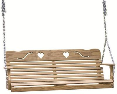 LuxCraft Pine Wood Cutout Heart Swing