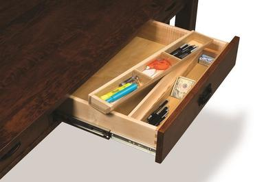 Amish Boulder Creek Four Drawers Desk with Unfinished Backside Pencil Drawer Organizer Tray for Desk