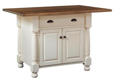 Amish French Country Kitchen Island with One Drawer and Two Doors