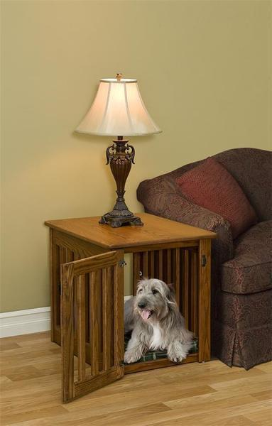 Amish Mission Dog Crate End Table