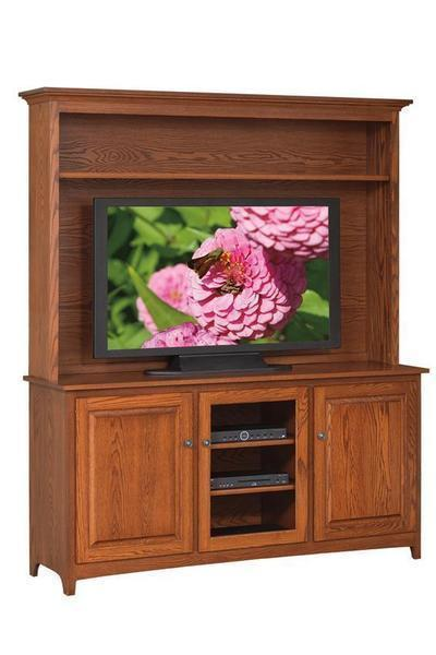 American Made Shaker TV Stand with Hutch Top