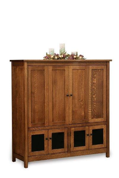 Amish Centennial Mission TV Cabinet with Doors Closed