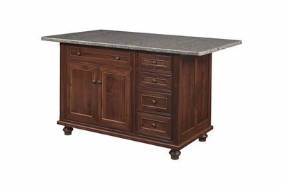 Amish Oceanside Kitchen Island with Five Drawers and Two Doors