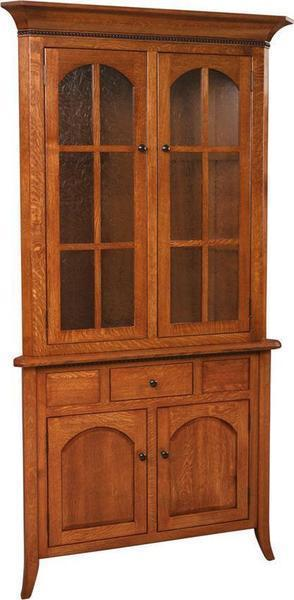 Amish Bunker Hill Corner Hutch with Full Doors and Drawer