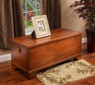 Amish Cherry Wood Large Flat Top Hope Chest