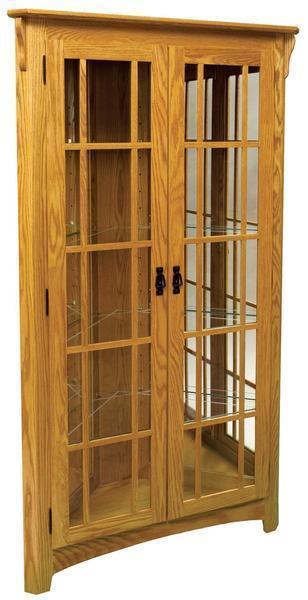 Amish Mission Corner Curio Cabinet