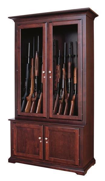 Amish Traditional Solid Wood Gun Cabinet 12 Gun Capacity