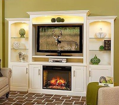 Amish Park Lane Electric Fireplace Entertainment Center with Optional Bookcases