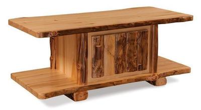 Amish Log Coffee Table with Door