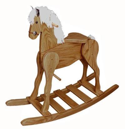 Amish Oak Wood Large Rocking Horse