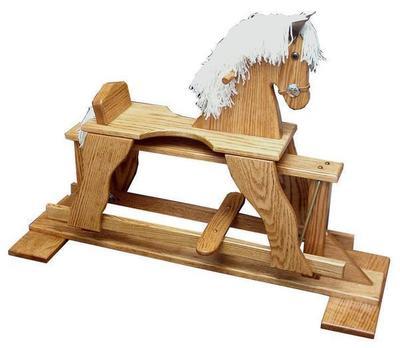 Amish Oak Wood Rocking Horse Glider