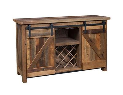 Amish Reclaimed Oak Wood Bar and Wine Cabinet with Sliding Barn Door
