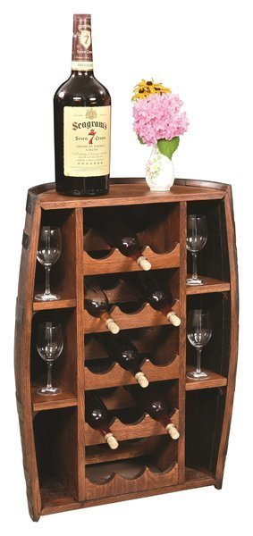 Amish Rustic Half Barrel Wine Bottle Holder