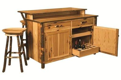 Amish Rustic Hickory Bar