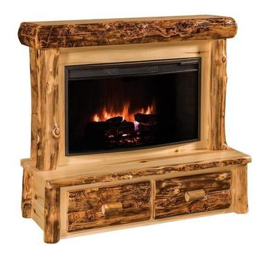 Amish Rustic Log Fireplace with Mantel and Drawers