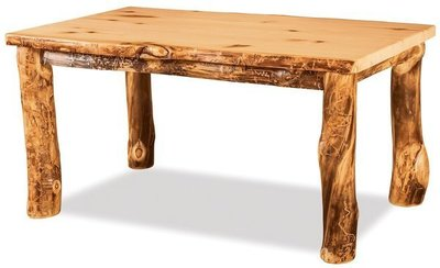Amish Rustic Log Solid Top Leg Table