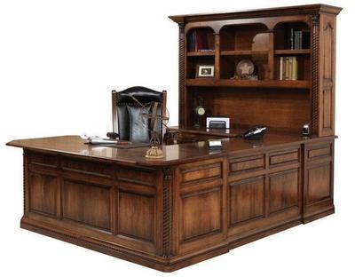 Amish Lexington U-Shaped Desk with Optional Hutch