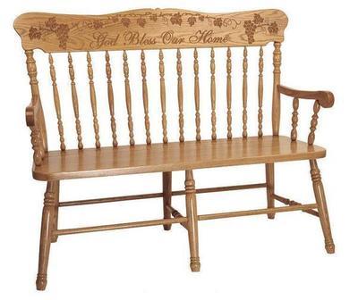 Amish Solid Wood Pressback Bench
