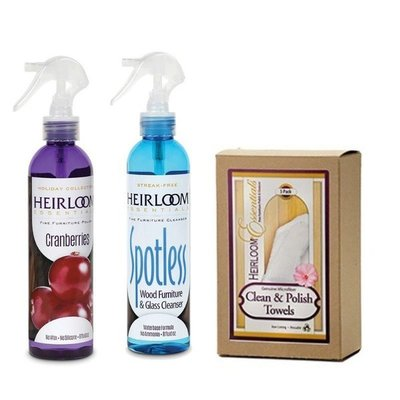 Heirloom Essentials Two Step Furniture Cleaner and Polish Combo with Towels
