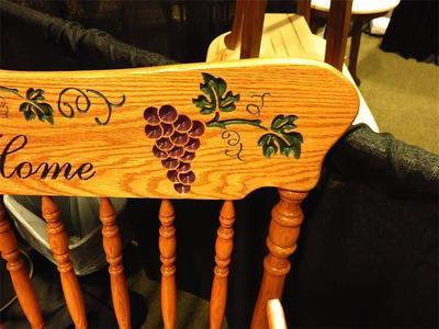 Pressback close up for Amish bench